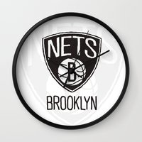 nba Wall Clocks featuring Brushed NBA Team Logos - Nets by Katadd