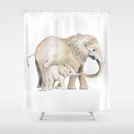 Mom and Baby Elephant 2 Shower Curtain