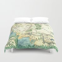 middle earth Duvet Covers featuring Middle Earth map by Ioreth