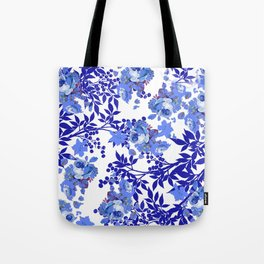 BLUE AND WHITE ROSE LEAF TOILE PATTERN Tote Bag