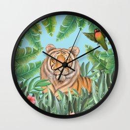 Tropical tiger jungle, tropical flowers Wall Clock