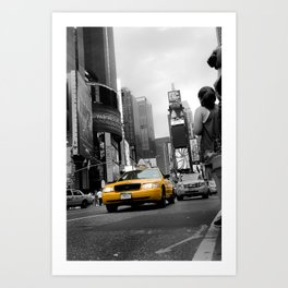 Shining Taxi Cab - Black and White Abstract Street Photograph Art Print