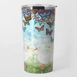 butterfly cascade and white geese Travel Mug