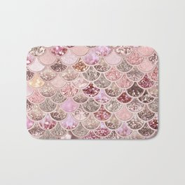 Rose Gold Blush Glitter Ombre Mermaid Scales Pattern Bath Mat