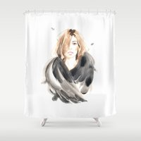 kate moss Shower Curtains featuring Kate by Esther Kang