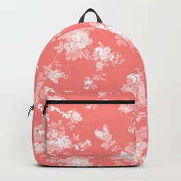 Vintage elegant coral white bohemian floral Backpack