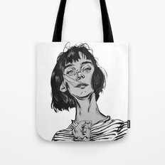 Woman in stripped shirt Tote Bag