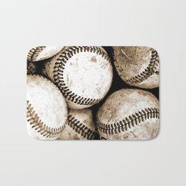 Bucket of baseballs Bath Mat