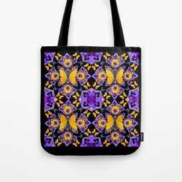 BLACK-GOLD-PURPLE BUTTERFLIES PANSY KALEIDOSCOPE Tote Bag