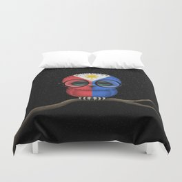 Baby Owl with Glasses and Filipino Flag Duvet Cover
