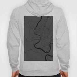 Bangkok Thailand Minimal Street Map - Gray and Black Hoody