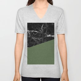 Black Marble and Kale Color Unisex V-Neck