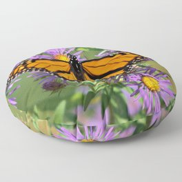 Monarch Butterfly on Wild Asters (square) Floor Pillow