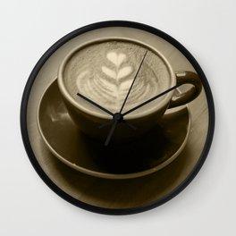 Coffee heart - sepia Wall Clock