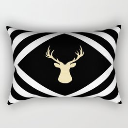 Abstract geometric pattern - Deer - black, beige and white. Rectangular Pillow