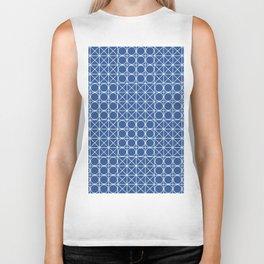 Geometric Tile Pattern Blue Biker Tank