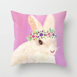 Fluffy Spring Bunny with a Flower Crown Throw Pillow