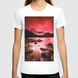 Magical Mountain Lake Red T-shirt