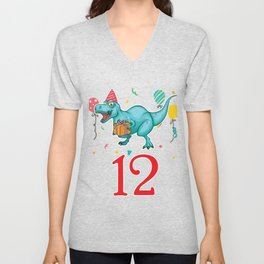 12th Birthday For Boys Dinosaur Birthday Unisex V-Neck