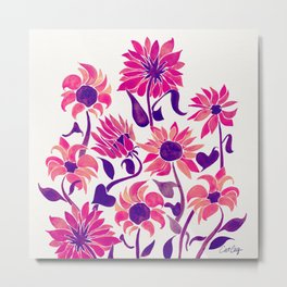 Sunflower Watercolor – Pink & Purple Palette Metal Print