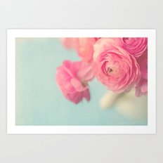 Cotton Candy, Pink Ranunculus Art Print