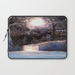 Blues In Nature Waterfall Spray Painting Laptop Sleeve