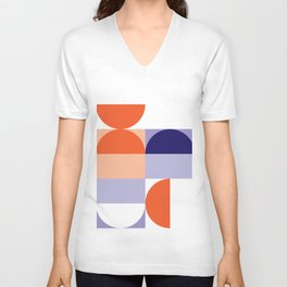 Minimal Bauhaus Semi Circle Geometric Pattern 1 - #bauhaus #minimalist Unisex V-Neck