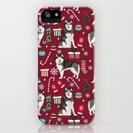Alaskan Malamute dog christmas pattern candy canes christmas presents iPhone Case