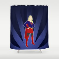 supergirl Shower Curtains featuring Supergirl by livinginamovie