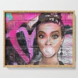 Retro Pinup Girl & Messy Graffiti Wall Serving Tray