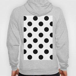 Large Polka Dots - Black on White Hoody