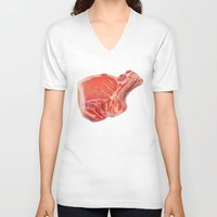 meat V-neck T-shirts featuring Meat by Adriana de Barros