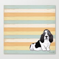 the hound Canvas Prints featuring Basset Hound by Tammy Kushnir