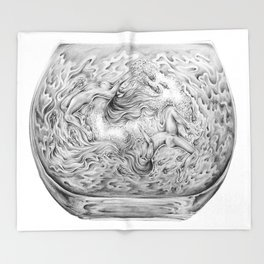 Two Lost Souls Swimming In A Fish Bowl Throw Blanket