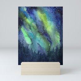 Galaxy Aurora Northern Lights Nebula Space Watercolor Mini Art Print