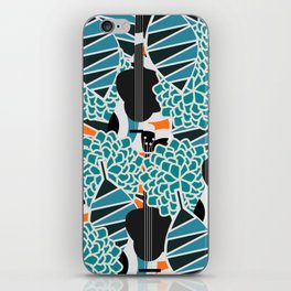 Guitars, flowers and leaves iPhone Skin