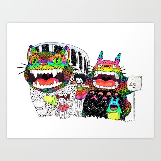 Totoro fan art (cat bus) by Luna Portnoi Art Print