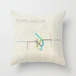 Minimal Portland, OR Metro Map Throw Pillow