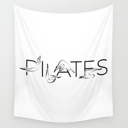 Pilates poses in PILATES word Wall Tapestry