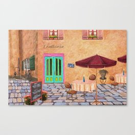 Trattoria Square – Italy – Painting by Liane Wright Canvas Print