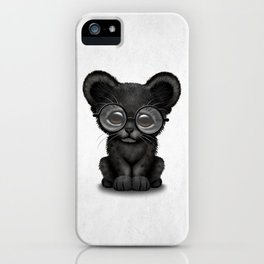 Cute Baby Black Panther Cub Wearing Glasses iPhone Case