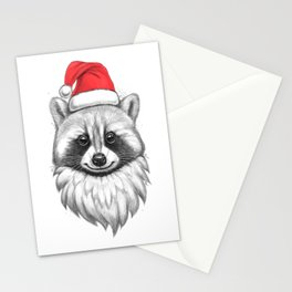 Santa Raccoon Stationery Cards