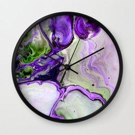 Colorful Purple Fluid Acrylic Pour Art - Digital Art Wall Clock