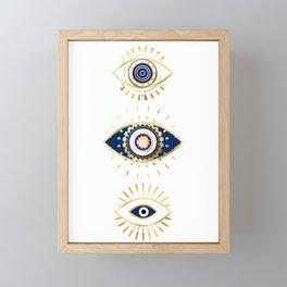 evil eye times 3 navy on white Framed Mini Art Print