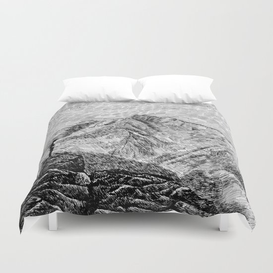 Child on the rock - Black ink Duvet Cover
