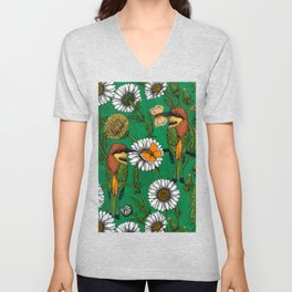 Bee eaters on a spring meadow    Unisex V-Neck