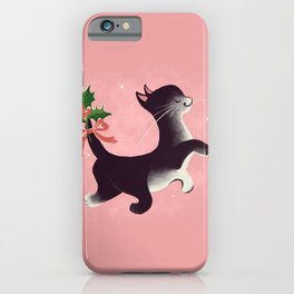 Holly Jolly Vintage Holiday Kitty Cat Cutie iPhone Case