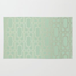 Simply Mid-Century in White Gold Sands and Pastel Cactus Green Rug