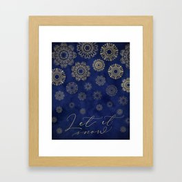 Let it snow, gold lace snowflakes in the night sky Framed Art Print