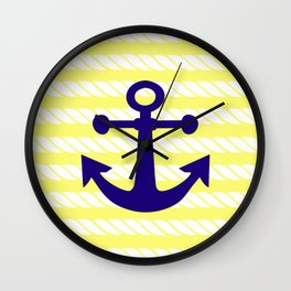 Blue Anchor with Yellow Ropes Wall Clock